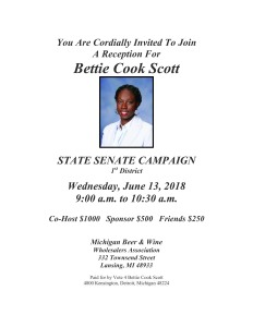Reception for Rep. Bettie Cook Scott June 13th